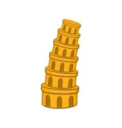 Pisa tower icon cartoon style vector