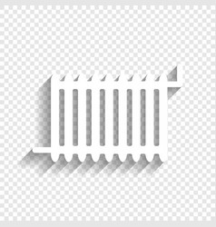 Radiator sign white icon with soft shadow vector