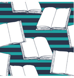 seamless vintage pattern with books vector image