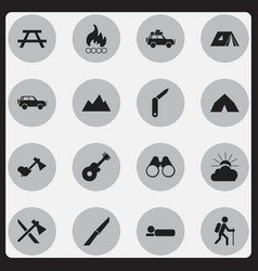 set of 16 editable trip icons includes symbols vector image vector image