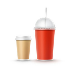 set of cardboard cups vector image