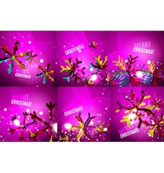 Set of colorful shiny Chrismas cards vector image vector image
