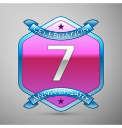Seven years anniversary celebration silver logo vector