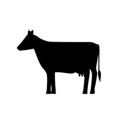 Silhouette monochrome with farm cow vector