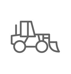 Simple wheel loader line icon symbol and sign vector