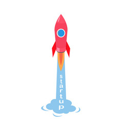 startup of rocket isolated on vector image
