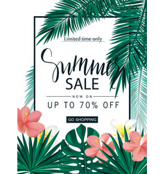 Summer sale tropical banner poster with vector