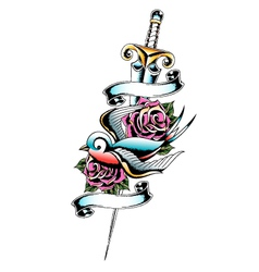swallow sword rose tattoo vector image vector image
