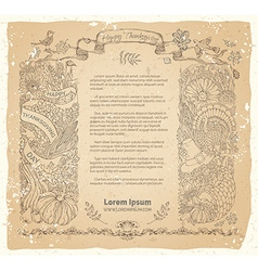 Thanksgiving frame on old paper background vector