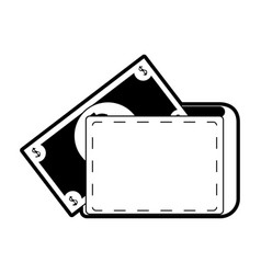 Wallet with cash coming out icon image vector
