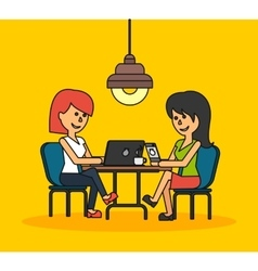 Woman Work with Laptop and Smartphone vector image