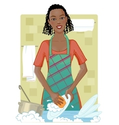 Young african american woman washing dishes vector