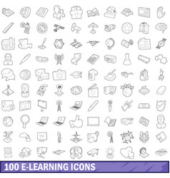 100 e-learning icons set outline style vector