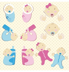 Set of twins baby boy and girl vector