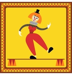 Funny female clown balances on two pillars vector image