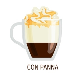 Coffee cups different cafe drinks con panna vector