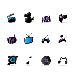 Bright media game and music icons vector