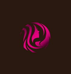 woman beauty hair salon logo design vector image