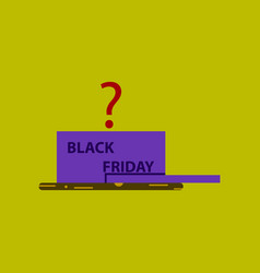 Flat icon of gift box black friday vector
