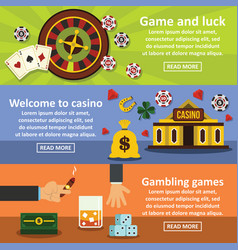 Casino banner horizontal set flat style vector