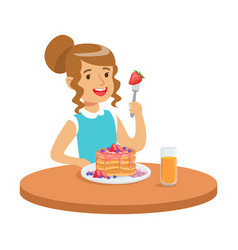 Happy girl sitting at the table and eating a cake vector