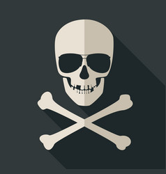 Skull and crossbones with sunglusses vector