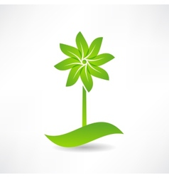 Green windmill design element icon vector
