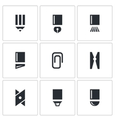 Stationery items icon collection vector
