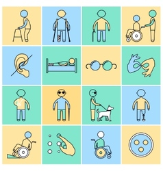 Disabled icons set flat line vector image