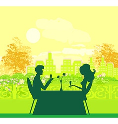 Young couple flirt and drink champagne vector