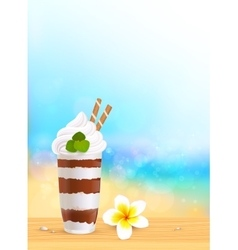 Chocolate creamy dessert on blurred summer beach vector