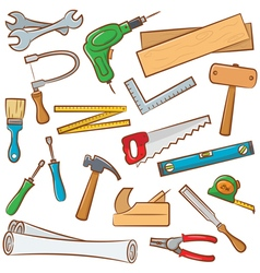 Carpenters tools and outfit vector