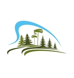 Forest emblem with glade trees and sky vector
