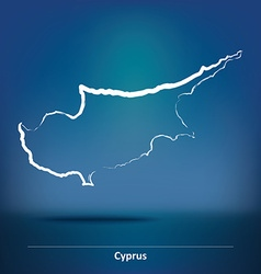 Doodle map of cyprus vector