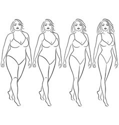 Woman on the way to lose weight vector