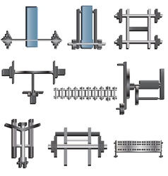 Fitness equipment top view set 1 for interior vector