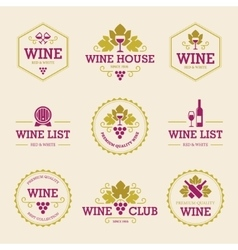Colored wine labels and badges vector