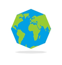 Octagon planta earth world map in geometric figure vector