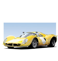 Yellow sportscar vector