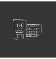 Hospital building drawn in chalk icon vector