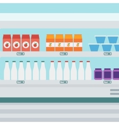 Supermarket shelves with dairy products vector image