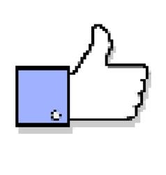 Pixelated thumb up vector