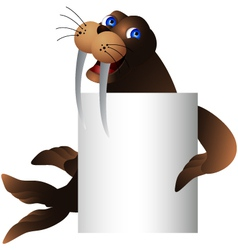 walrus with blank sign vector image