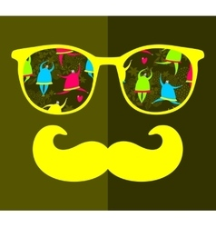 Abstract portrait of man in sunglasses with vector