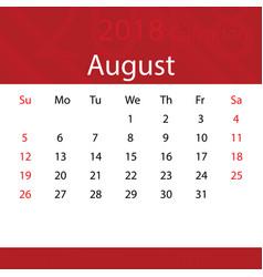 August 2018 calendar popular red premium for vector