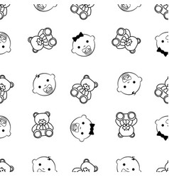 baby girl baby boy and teddy bear seamless black vector image