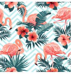 beautiful flamingo bird and tropical flowers vector image vector image