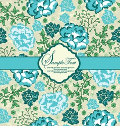 blue floral invitation card with place for text vector image vector image