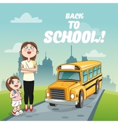 Bus girl teacher back to school design vector