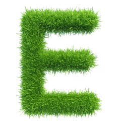 Capital letter e from grass on white vector